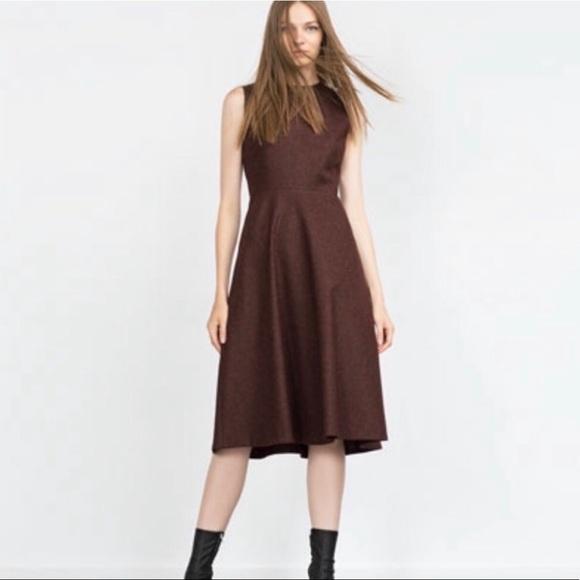 d7c42280 Zara Dresses | Midi Brown Wool Silk Blend Fit Flare Dress Lg | Poshmark